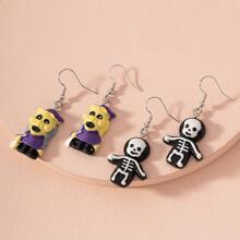 2pairs Halloween Monster Drop Earrings