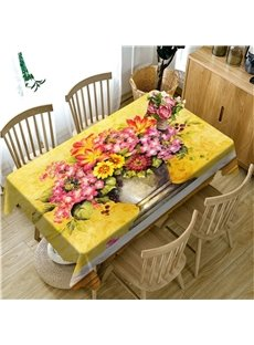 3D Retro Yellow Flowers and Vase Printed Noble Style Table Cloth