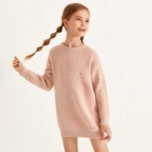 Girls Drop Shoulder Ripped Sweater Dress