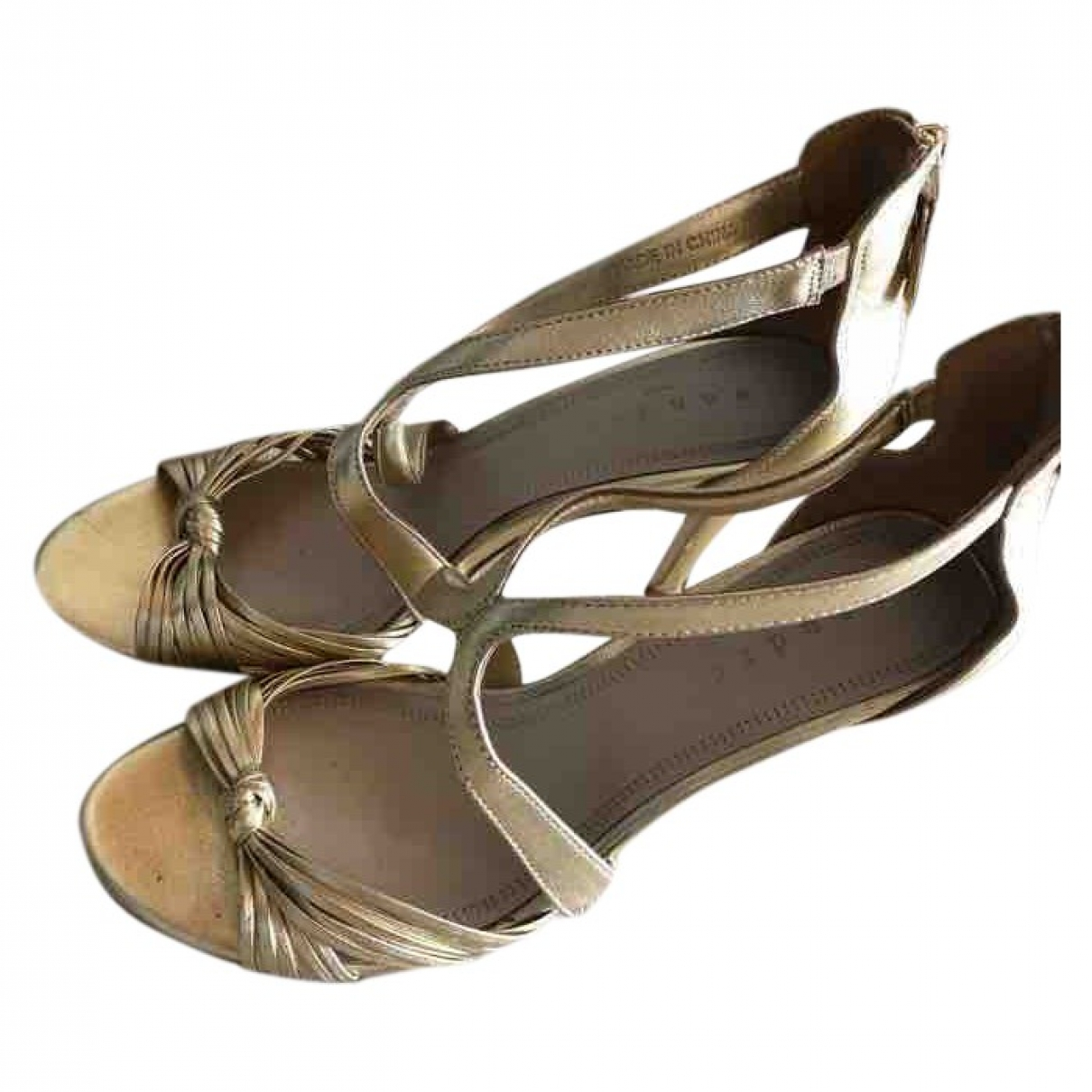 Sandro \N Gold Leather Sandals for Women 38 EU