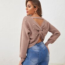 Solid Beaded Twist V-Cut Back Sweater