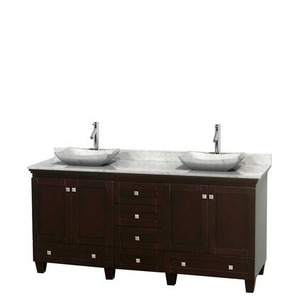 WCV800072DESCMGS3MXX 72 in. Double Bathroom Vanity in Espresso  White Carrera Marble Countertop  Avalon White Carrera Marble Sinks  and No