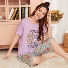 Letter & Cartoon Donut Graphic PJ Set