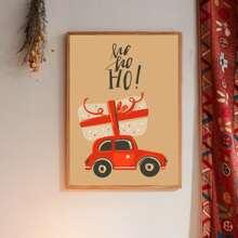 Weihnachten Wandmalerei mit Auto Muster ohne Rahmen