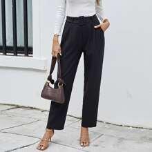 Solid Belted Slant Pocket Pants
