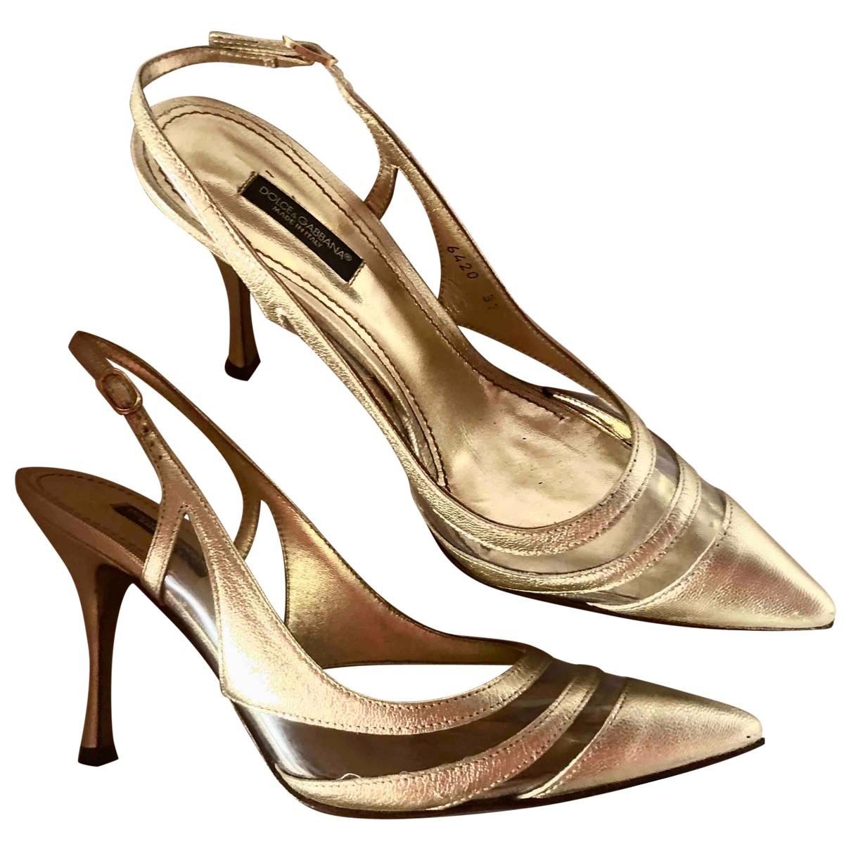 Dolce & Gabbana \N Gold Leather Heels for Women 37 EU