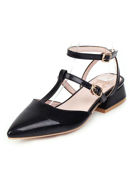 Milanoo Zapatos de tacon bajo de charol de tacon bajo tipo T con punta academica Zapatos de mujer