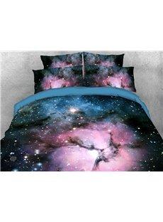 Purple and Blue Galaxy 3D Warm Comforter Soft Lightweight 5-Piece Comforter Sets