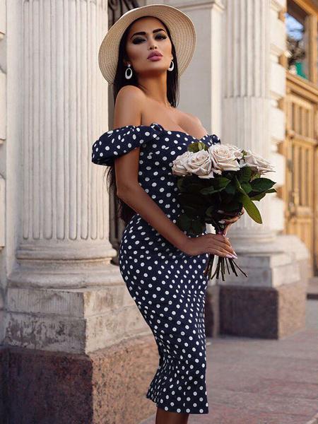 Milanoo Vestido ajustado con lunares en el hombro Vestido de mujer dividido en hombros