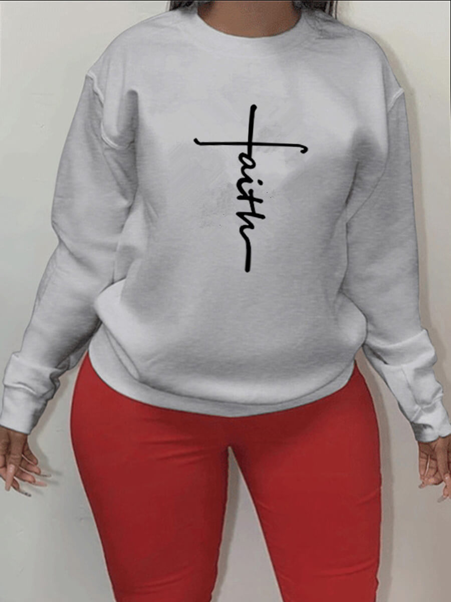 LW Lovely Casual O Neck Letter Print Grey Plus Size Hoodie