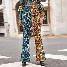 Colorblock Leopard Flare Leg Pants