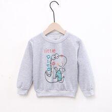 Toddler Boys Letter And Cartoon Print Sweatshirt