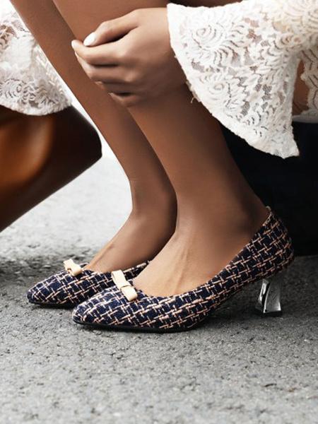 Milanoo Zapatos de tacon medio bajo para mujer Punta puntiaguda Patron de tacon grueso Arcos sin cordones Zapatos negros