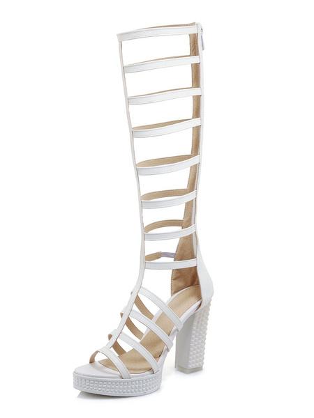 Milanoo Black Gladiator Sandals High Heel Sandals Women Open Toe Cut Out Wide Calf Sandals