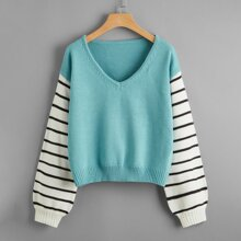 V-neck Contrast Striped Sleeve Sweater