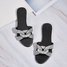 Sequins Decor Open Toe Sliders