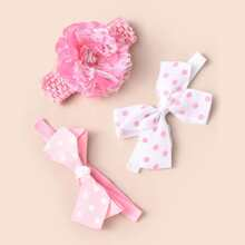 3pcs Toddler Girls Polka Dot Bow Decor Headband