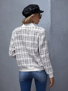 Zip Up Plaid Tweed Bomber Jacket
