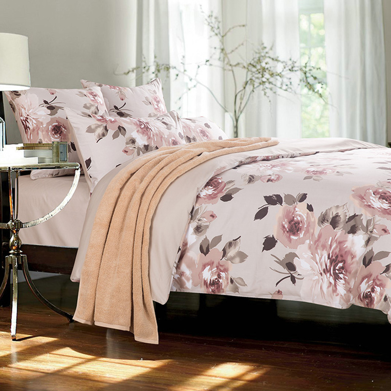 Floral Reactive Printing Duvet Cover 2 Pillowcases Four-Piece Set Polyester Bedding Sets Fitted Sheet