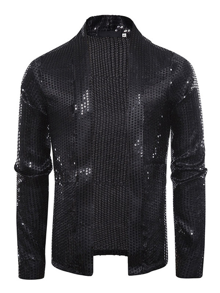 Milanoo Sequin Mens Jacket Shawl Collar Glitter Blazers Nightclub Wedding Party Prom DJ Singer Costumes