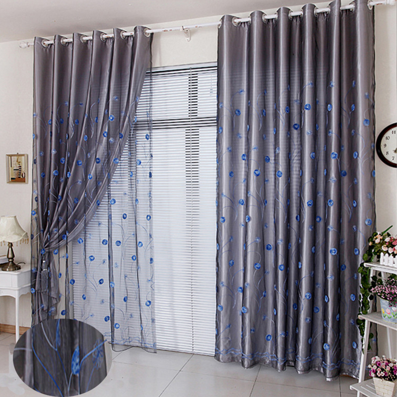 Noble Embroidered Blackout Curtains for Living Room Bedroom Thick Polyester Purple Shading Cloth and Sheer Curtain Set No Pilling No Fading No off-lin