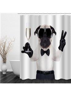 3D Gentle Dog Polyester Waterproof Antibacterial Eco-friendly Shower Curtain