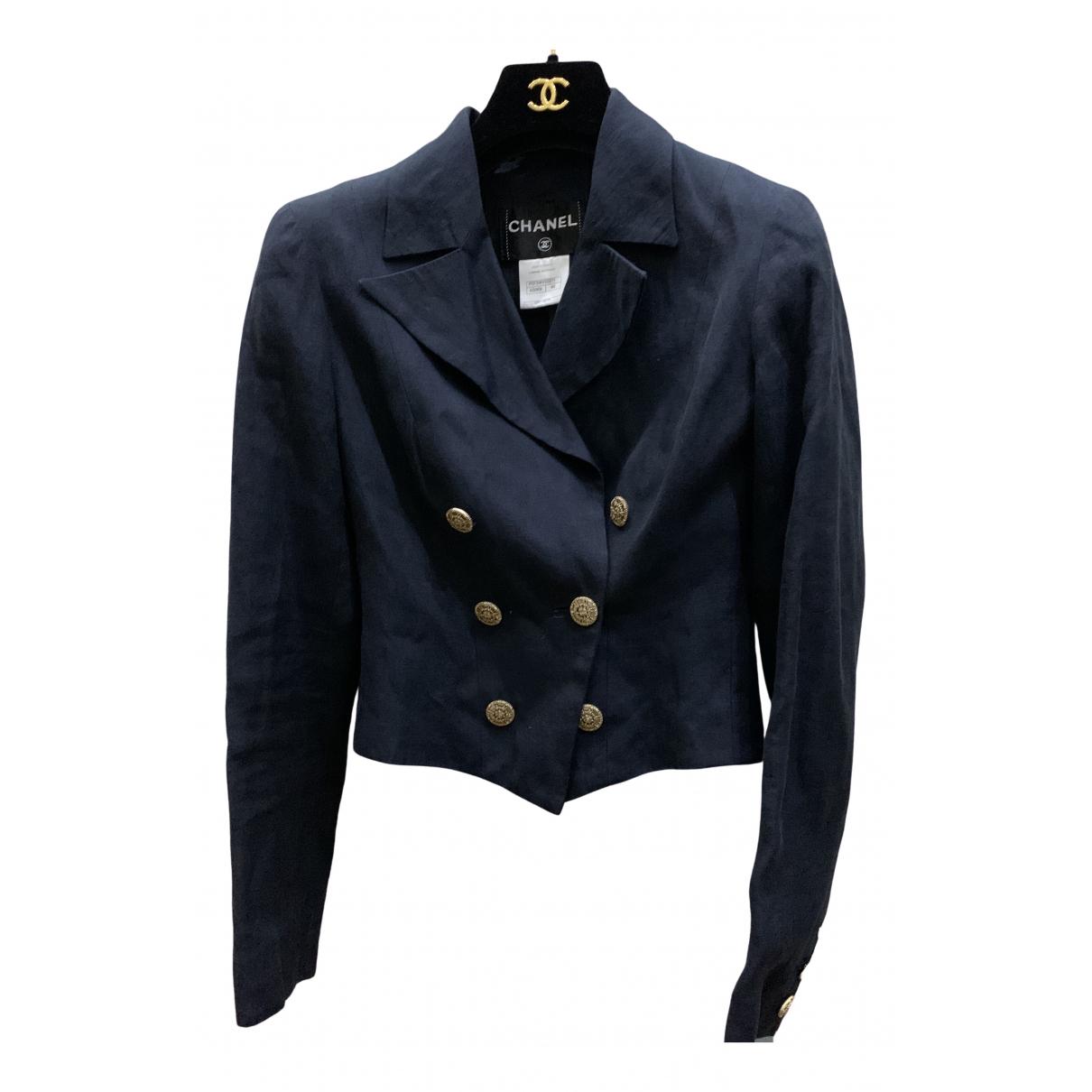 Chanel \N Jacke in  Blau Leinen