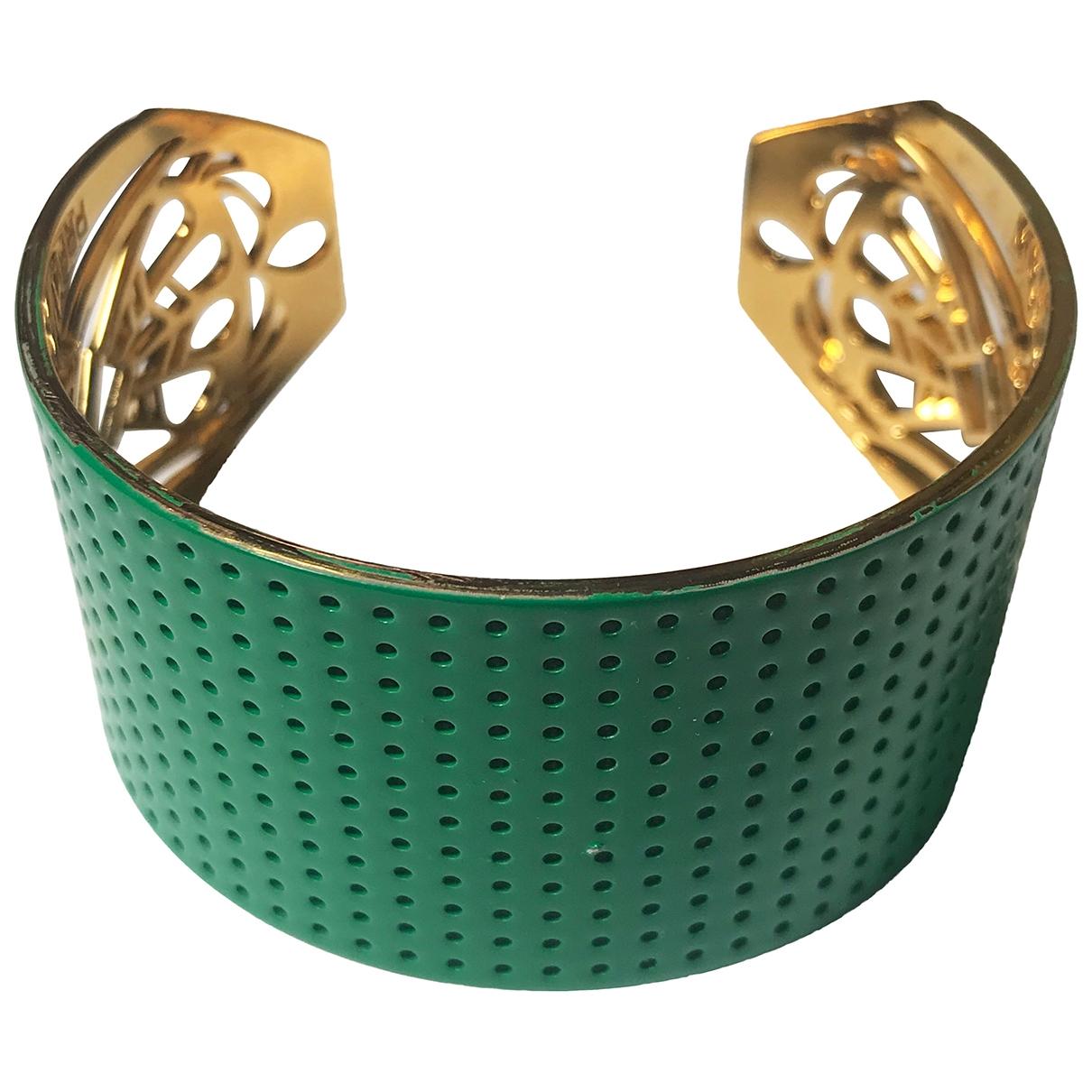 - Bracelet Manchette pour femme en plaque or - vert