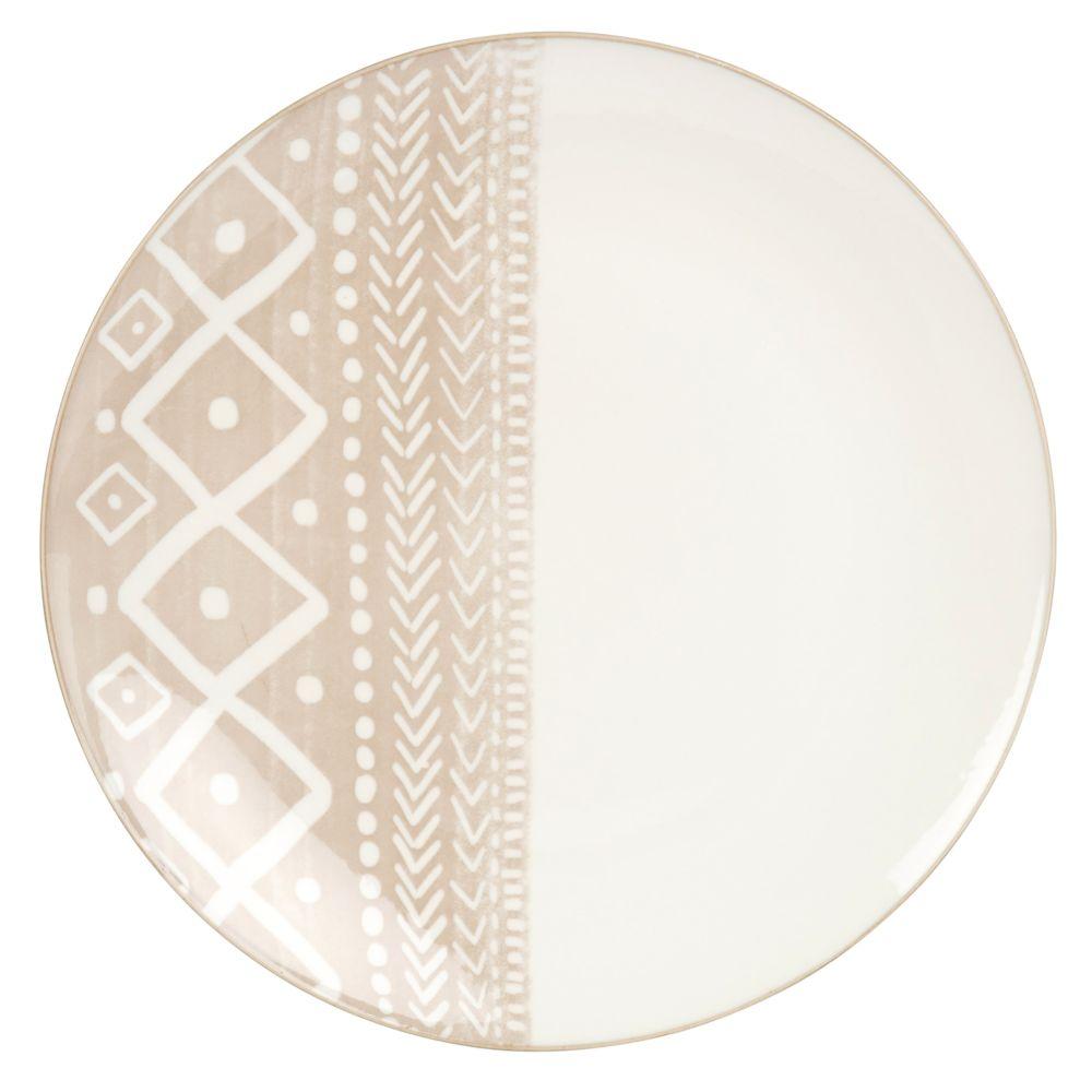 Flacher Porzellanteller, weiss und braun, bedruckt