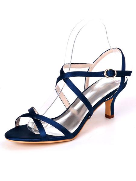 Milanoo Zapatos de novia plateados Saten Punta abierta Criss Cross Kitten Tacon Zapatos de novia Zapatos de dama de honor