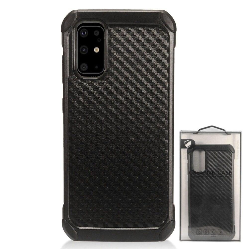 Insten Carbon Fiber Hard Hybrid Plastic TPU Cover Case For Samsung Galaxy S20 - Black (Black)