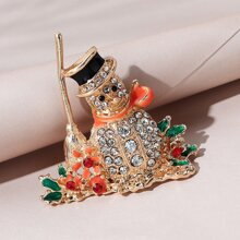 Rhinestone Decor Christmas Snowman Design Brooch