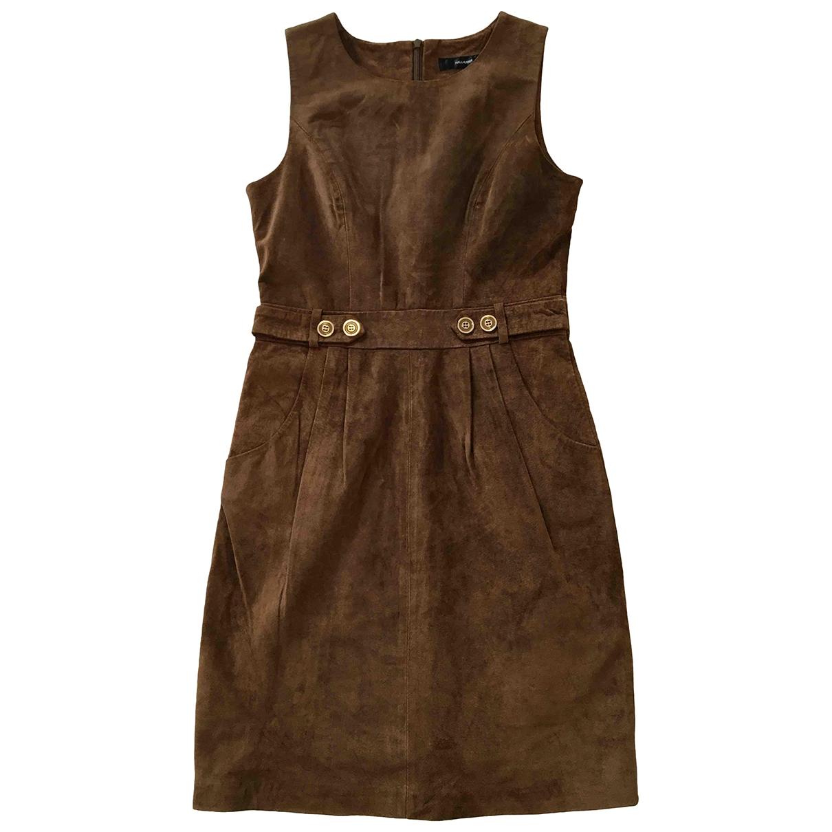 Hallhuber - Robe   pour femme en suede - marron