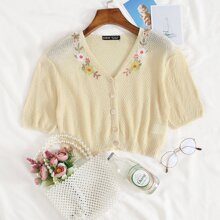 Button Front Embroidered Flower Cardigan