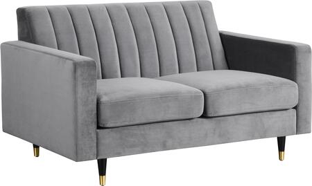 Lola Collection 619Grey-L 60 Loveseat with Plush Velvet Upholstery  Channel Tufting and Slim Black Legs with Gold Tips in