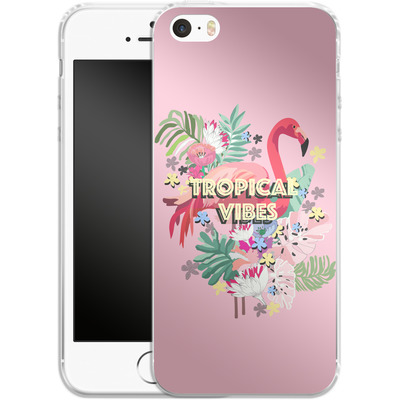 Apple iPhone 5s Silikon Handyhuelle - Flamingo Solo von Mukta Lata Barua
