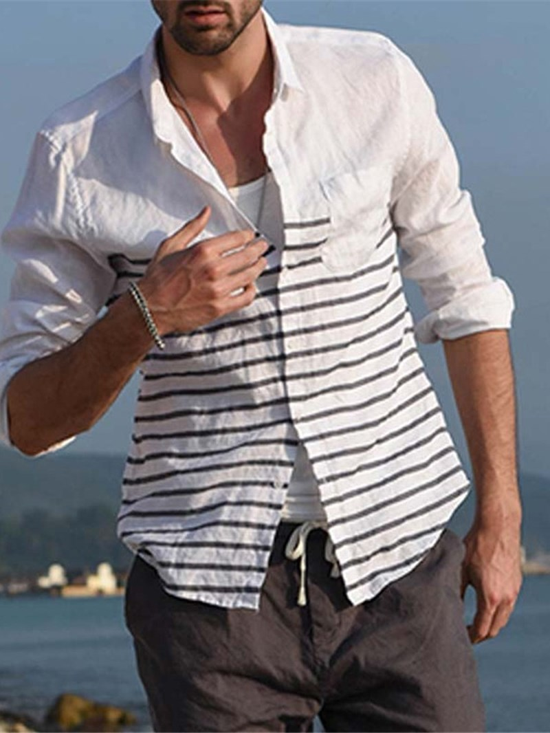 Ericdress Color Block Lapel Casual Single-Breasted Mens Slim Shirt
