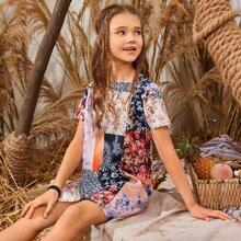 Girls Keyhole Back Floral Patchwork Dress