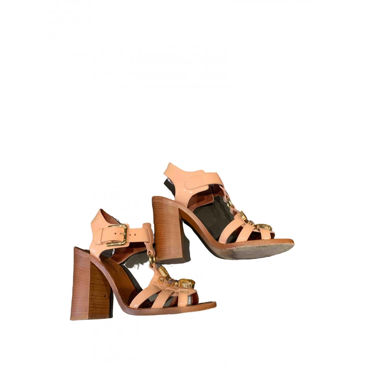 Dolce & Gabbana - Sandales   pour femme en cuir verni - beige