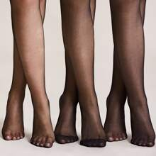 3pairs Solid Mesh Socks-Pantyhoses