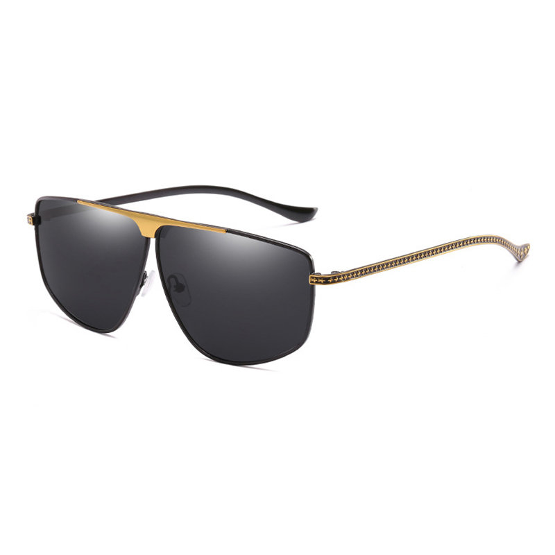 Men Vogue HD Polarized Metal Sunglasses HD UV400 Vogue Outdoor Travel Riding Driving Sunglasses