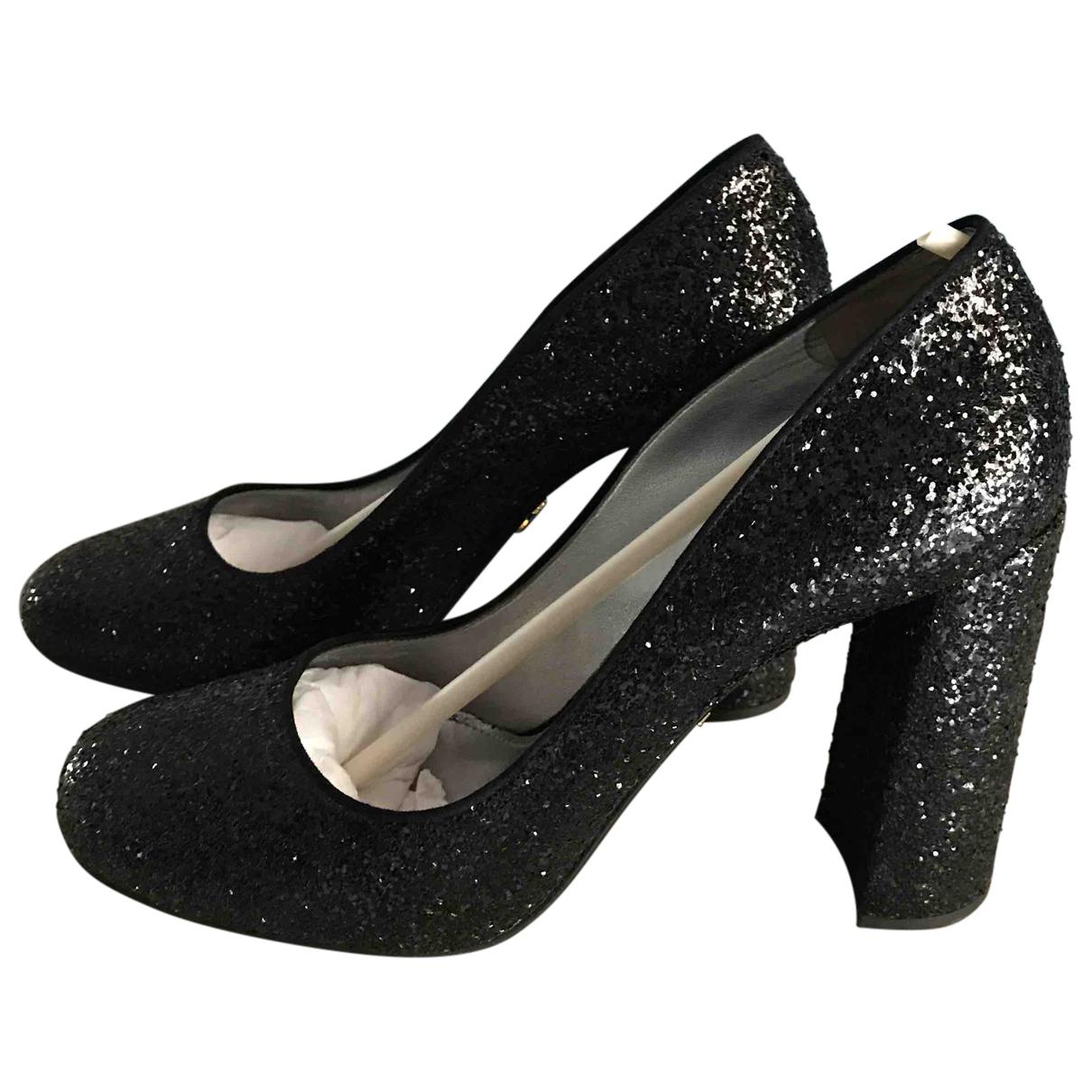 Prada \N Black Glitter Heels for Women 40 EU