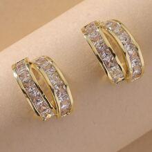 Pendientes de aro con diamante de imitacion