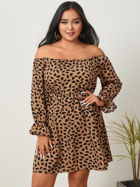 Yoins Plus Size Off The Shoulder Leopard Backless Design Long Sleeves Mini Dress