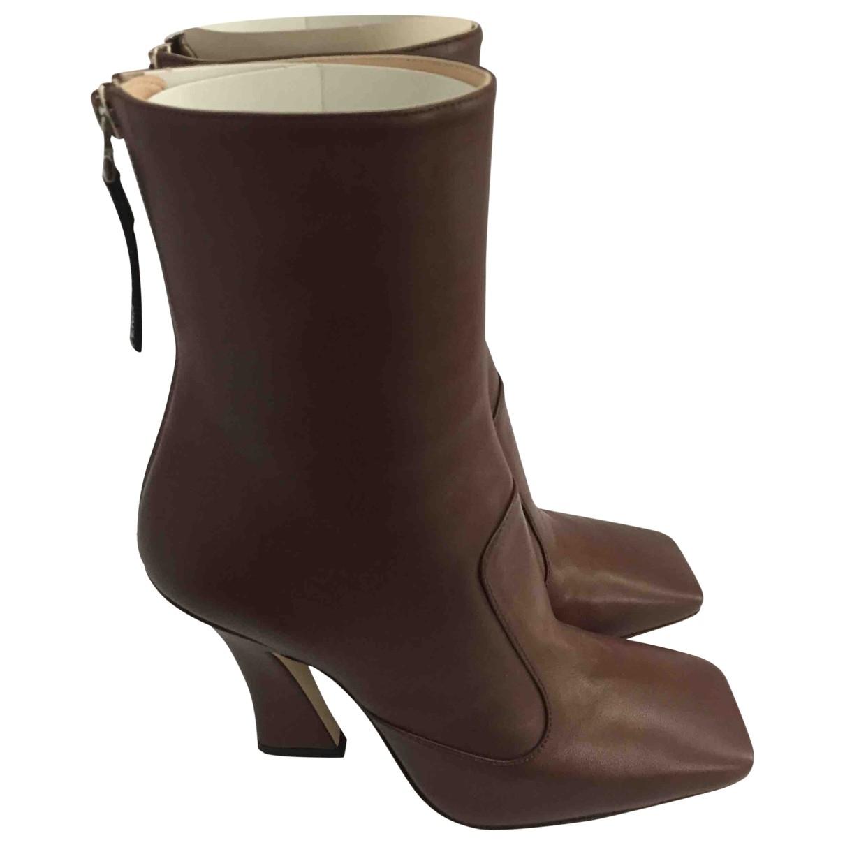 Fendi - Boots   pour femme en cuir - camel