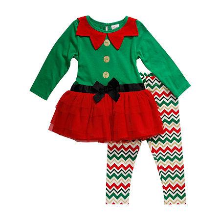 Youngland Baby Girls Long Sleeve 2-pc. Dress Set, 12 Months , Green