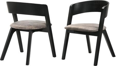 Jackie Mid-Century Modern Dining Accent Chairs in Black Ash Finish and Brown Fabric - Set of