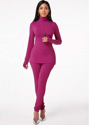 Long Sleeve Turtleneck Purple Red Sports Suit - M