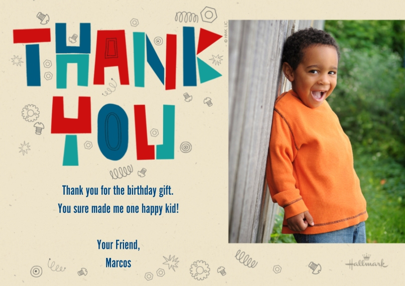 Kids Thank You Cards 5x7 Cards, Premium Cardstock 120lb with Elegant Corners, Card & Stationery -Nuts and Bolts Thank You