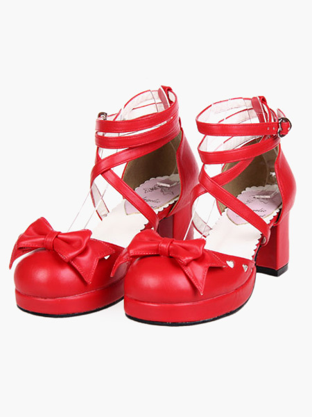 Milanoo Zapatos de lolita de PU con lazo de buena calidad